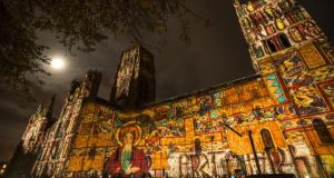 Seeing the light: The Lindisfarne Gospels projected on Durham Cathedral