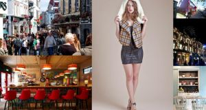Left, from top: Shop Street in Galway; Laundromat Cafe in Reykjavik. Middle: a model wears a Chouchou Couture hood-scarf combo; right, from top: shoppers on Laugavegur, one of the oldest shopping streets in Reykjavik; Princes Square in Glasgow; Aniar in Galway