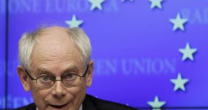 The document, prepared by  chairman of European Union leaders Herman Van Rompuy, will form the basis of discussions between senior euro zone officials at a meeting in Brussels on Wednesday . Photograph: Yves Herman/Reuters