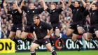Greg Feek leads the Haka prior to the All Blacks win over Ireland in Dublin in 2001. Photograph:  Ross Land/Getty Images