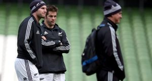 All Blacks skipper Richie McCaw and number eight Kieran Read during the New Zealand    captain's run at the  Aviva Stadium on Saturday. Photograph: Dan Sheridan/Inpho