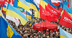 Protesters attend a rally to support EU integration in central Kiev. Photograph: Gleb Garanich/Reuters