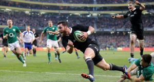 New Zealand's Ryan Crotty crosses the line to score in the final minute of the autumn international against Ireland at the   Aviva Stadium. Photograph:  James Crombie/Inpho