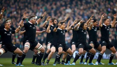 The All Blacks perform the haka.  Photograph: Phil Walter/Getty Images
