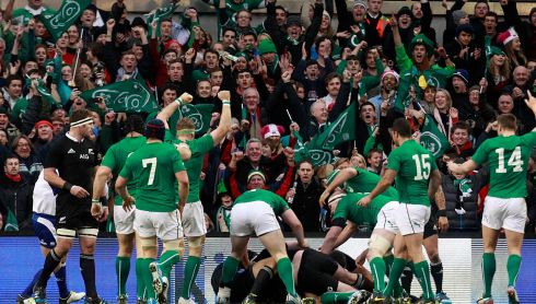 Ireland celebrates scoring against New Zealand.  Photograph: Cathal McNaughton/Reuters