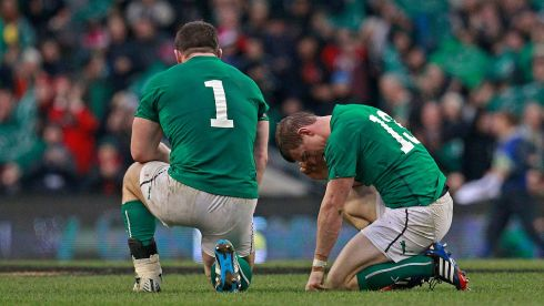 Ireland's Cian Healy and Brian O'Driscoll.  Photograph: Cathal McNaughton/Reuters
