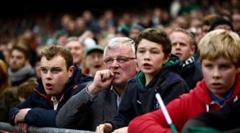 Ireland fans are on the edge of their seats. Photograph: Phil Walter/Getty Images