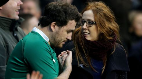 Nervous Irish fans during the second half. Photograph: James Crombie/Inpho