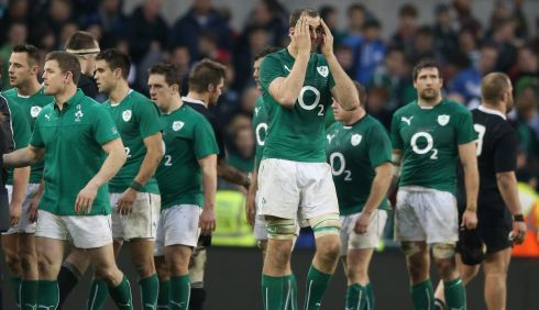Devin Toner of Ireland looks dejected after their narrow defeat. Photograph: David Rogers/Getty Images