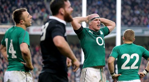 Ireland's Tommy Bowe and Paul O'Connell after Ryan Crotty scored a late try. Photograph: James Crombie/Inpho