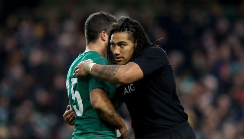 Ireland's Rob Kearney consoled by Ma'a Nonu at the final whistle. Photograph: James Crombie/Inpho
