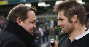 New Zealand coach Steve Hansen congratulates his captain Richie McCaw following their victory yesterday. Photograph: David Rogers/Getty Images)