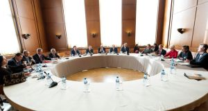 Representatives from the US, United Nations and the League of Arab States for Syria meet on the situatioin in Syria in Geneva, Switzerland today. Photograph: United Nations handout