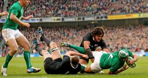 Rory Best scores his sides try despite the defending of Luke Romano and Sam Whitelock. Photograph: James Crombie/Inpho