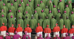 Bishops and cardinals attend a Mass to celebrate the opening of the Synod of Bishops in Rome in 2012. Why is a synod on the family being organised by a group of celibate males? Photograph: Reuters