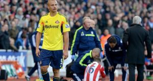 Sunderland's Wes Brown leaves the pitch after being shown a red card for a challenge on Stoke City's Charlie Adam. The English FA have upheld an appeal against the decision and withdrawn a three-match suspension. Photograph: Martin Rickett/PA