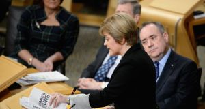 Deputy first minister Nicola Sturgeon presents the Independence White Paper to the members of the Scottish Parliament. Photograph:Jeff J Mitchell/Getty Images