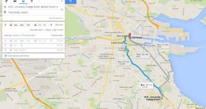 A Google Transit map between UCD and the city centre. Image: Google Maps