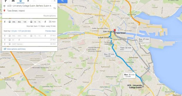 City Map Of Dublin Ireland.Google Launches Public Transport Mapping For Ireland