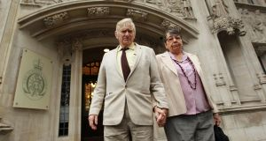 Peter Bull and his wife Hazelmary, the Christian guest house owners who were ordered to pay damages after turning away a gay couple, leaving court after losing their latest legal battle. Photograph: Sean Dempsey/PA Wire