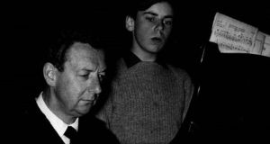 Benjamin Britten and John Elwes in Kingsway Hall, London, in 1961