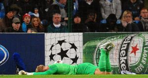 Joe Hart shows his dejection after Manchester City conceded a goal to make it 1-1 during the    Uefa Champions League Group D soccer match against FC Viktoria Plzen in Manchester. Photograph: Peter Powell/EPA