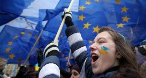 Students take part in a rally to support EU integration in central Kiev on Thursday. Photograph: Valentyn Ogirenko/Reuters