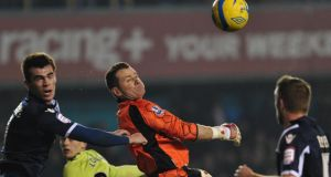 Shay Given in action against Millwall during his last competitive appearance for Aston Villa last January.