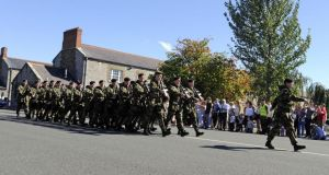 Soldiers of the 43rd Infantry Group  on a march-past at Cathal Brugha barracks today, where Alan Shatter, TD, Minister for Justice, Equality & Defence performed a ministerial review of 43 Infantry Group UNDOF on the eve of its departure for a tour of peacekeeping duty in departing for the peacekeeping mission in  the Golan Heights in September yria.
