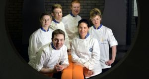 Elena Arzak, judge at the Euro-toques Young Chef of the Year (front right), with finalists (clockwise from front left), Brian O'Flaherty, Paula Leavy, Kevin Burke, Mark Moriarty  and Grainne O'Keefe. Photograph: Alan Betson