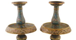 A pair of Chinese Qing Dynasty cloisonné enamelled candlesticks which sold for €150,000 at Sheppard's