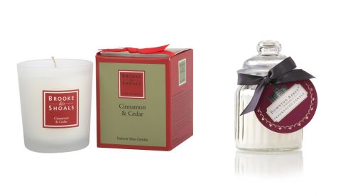 Cinnamon & Cedar natural wax candle, €18.95, brookeandshoals.ie Downtown Abbey fragranced candle, €11.50, M&S