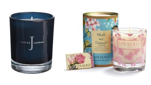 Vetiver scented candle, €23.50, J by Jasper Conran at Debenhams 'Shall We Dance' soy wax candle, €26.95, Loveolli at Carraig Donn