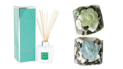 Winter Tree and Moss diffuser, €26.95, Max Benjamin, maxbenjamin.ie Dofta potpourri boxes, €1.50 each, Ikea