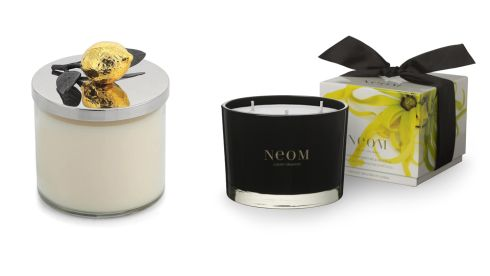 Lemonwood candle, €55, Michael Aram at Brown Thomas 'Sensuous' ylang ylang, frankincense and patchouli candle, €52, Neom at Arnotts