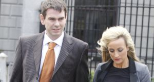 26/10/2012Sean Quinn Jr and his wife, Karen Woods leaving court yesterday(Fri) after a High Court action.Pic: Collins Courts