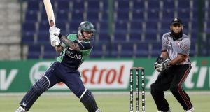 Ireland batsman John Mooney in action during the ICC World T20 qualifier semi-final against the United Arab Emirates at the Sheikh  Zayed Stadium in Abu Dhabi. Photograph:   © 2013 IDI/Getty Images
