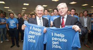 Tánaiste Eamon Gilmore with Minister for Jobs Richard Bruton. With a fall in the unemployment figures could Labour now be heading into slightly less choppy waters? Photograph: Collins