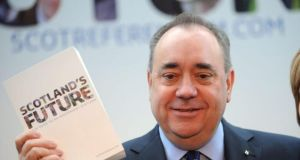 Scottish First Minister Alex Salmond at a press conference in Edinburgh earlier this week.
