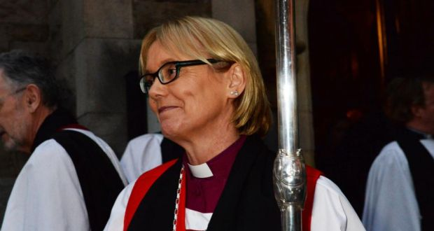 Right Rev  Pat Storey after her ordination and consecration as Bishop of Meath & Kildare at Christ Church in Dublin today. Photograph: Cyril Byrne/Irish Times