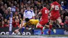 Australia's Joe Tomane scores a try against Wales    at the Millennium Stadium in Cardiff.  Photograph:  Tim Ireland/PA