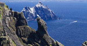 Essential maintenance work is taking place at Skellig Michael in Co Kerry. Photograph: Gareth McCormack/Getty Images