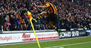David Meyler of Hull City celebrates scoring his team's second goal during the  Premier League match against Liverpool at KC Stadium. Photograph: Matthew Lewis/Getty Images