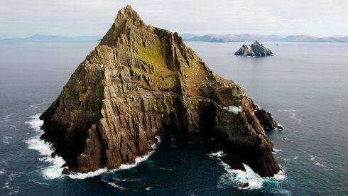 View of the Skelligs as seven tonnes of material were airlifted to Skellig Michael for essential renovation works on the Unesco world heritage site. Photograph: Brian Lawless/PA Wire
