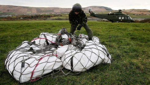 Air Corps preparing a load for transporting from Valentia Island to Skellig Michael, using a Agusta Westland AW139 helicopter. Photograph: Brian Lawless/PA Wire