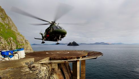Air Corps Agusta Westland AW139 taking off from Skellig Michael as seven tonnes of material were airlifted to Skellig Michael for essential renovation works on the Unesco world heritage site. Photograph: Brian Lawless/PA Wire