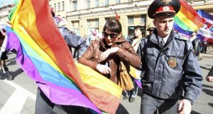 "Russian police detain a gay rights activist during a protest in StPetersburg on May 1st last year. Russian gay rights activists have expressed concern about ""conflicting messages"" regarding Dutch government support for their cause. Photograph: Reuters"