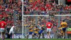 Clare goalkeeper Patrick Kelly saves a penalty from Anthony Nash in the All-Ireland final. Photograph: Morgan Treacy/Inpho
