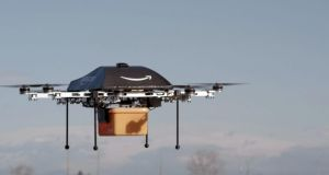 This undated image provided by Amazon.com shows the so-called Prime Air unmanned aircraft project that Amazon is working on in its research and development labs. Photograph: AP Photo/Amazon
