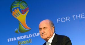 Fifa president Sepp Blatter attends a press conference following a meeting of the organising committee for the FIFA World Cup 2014 in Costa do Sauipe, Brazil today. Photograph: Marcus Brandt/EPA